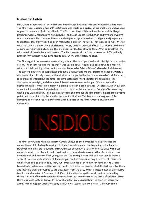 Insidious Film Analysis