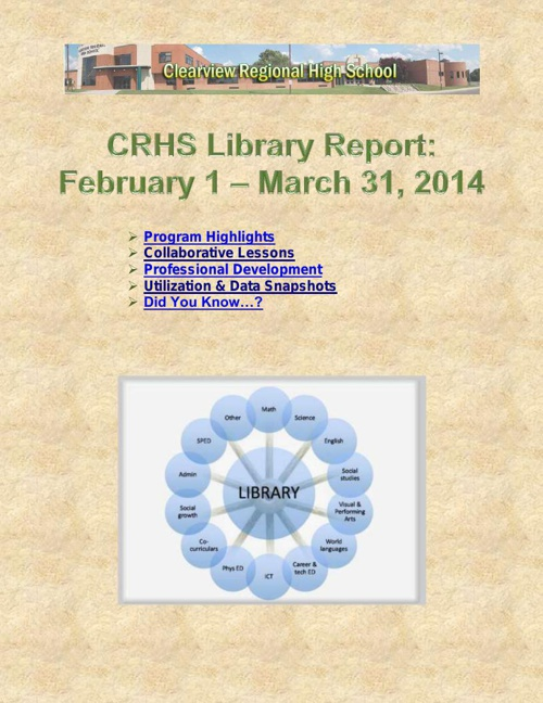 CRHS Library Bi-Monthly Report Feb2014-Mar2014