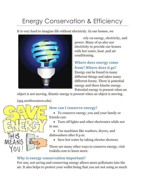 Energy Conservation & Efficiency