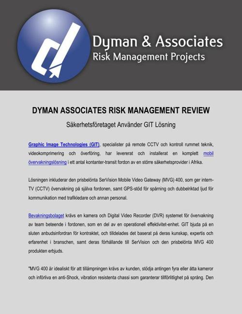 Dyman Associates Risk Management Review