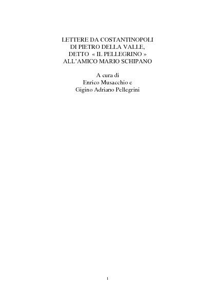 Pietro della Valle - Lettere da Costantinopoli