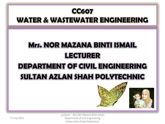 CC607 Water & Waste Water Engineering