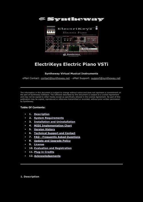 Syntheway ElectriKeys VSTi Rhodes, Wurlitzer, Clavinet, Yamaha