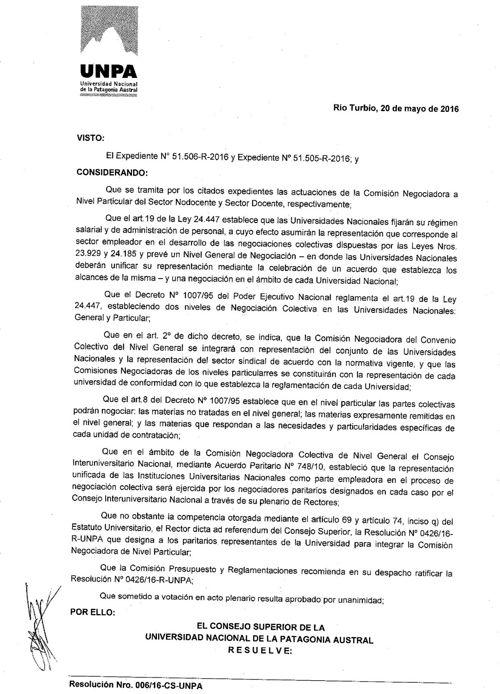 Resolución - Comisión Negociadora de Nivel Particular