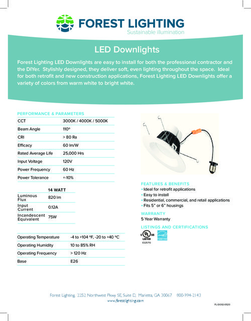 Complete Specification of LED Downlights