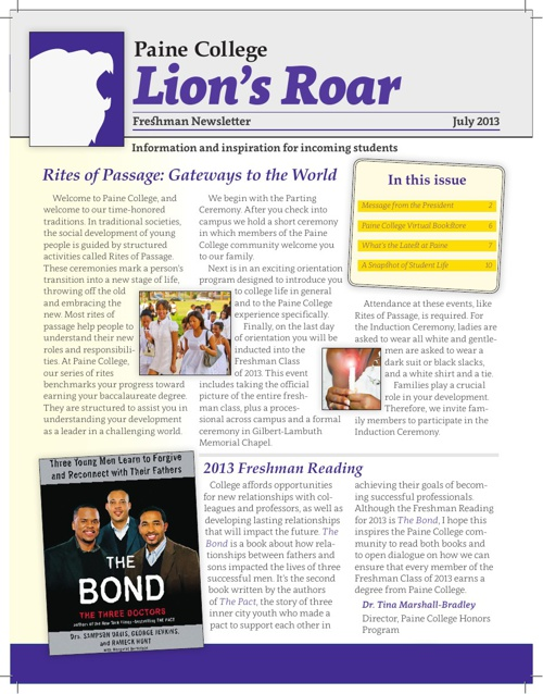 Lion's Roar 2013: Incoming Freshman Newsletter