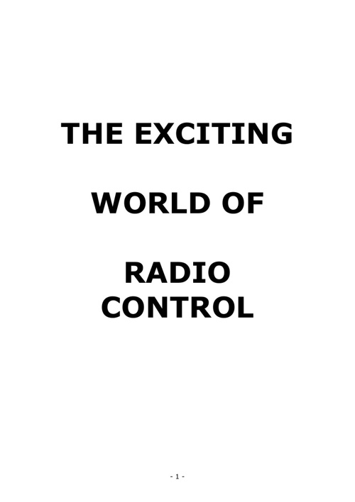 The Exciting World of Radio Control