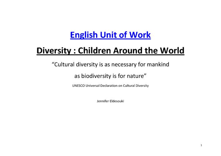 English Diversity Program