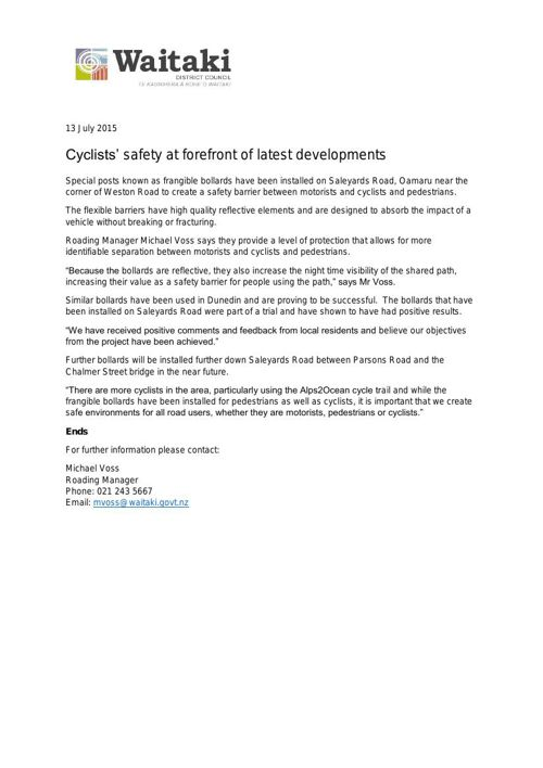 WDC Media Release 13 July 2015 - Cyclists safety at forefront of