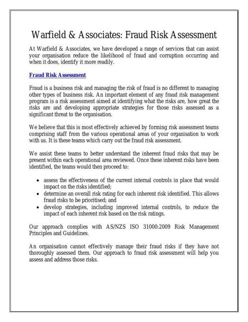 Warfield & Associates: Fraud Risk Assessment