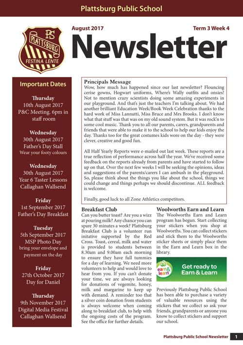 2017 Term 3 Week 4 Newsletter