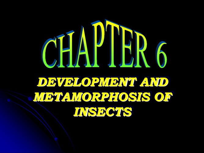 ENTOMOLOGY: CHAPTER 6 (Metamorphosis)