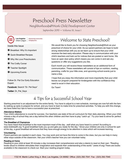 Preschool Press Newsletter