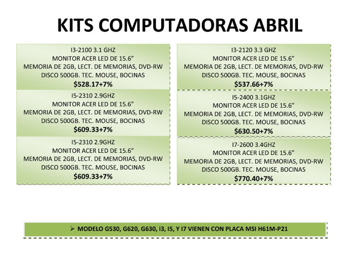 OFERTAS DE KIT COMPUTERS