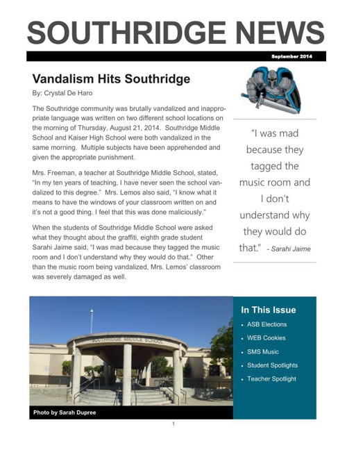 Southridge Newspaper - September