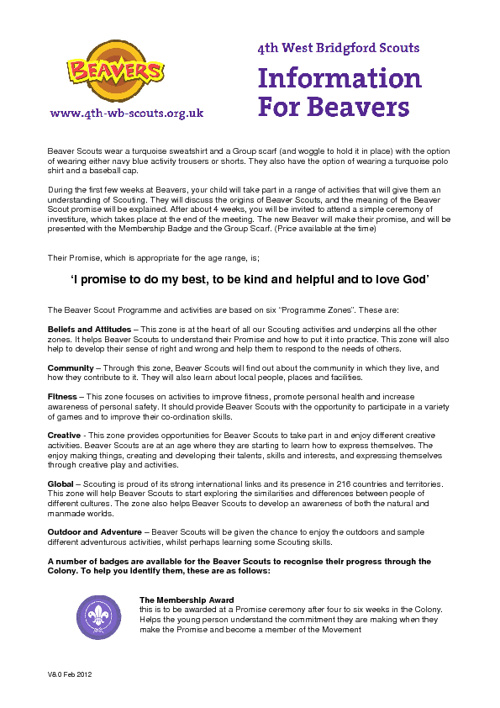 Beavers Information Pack