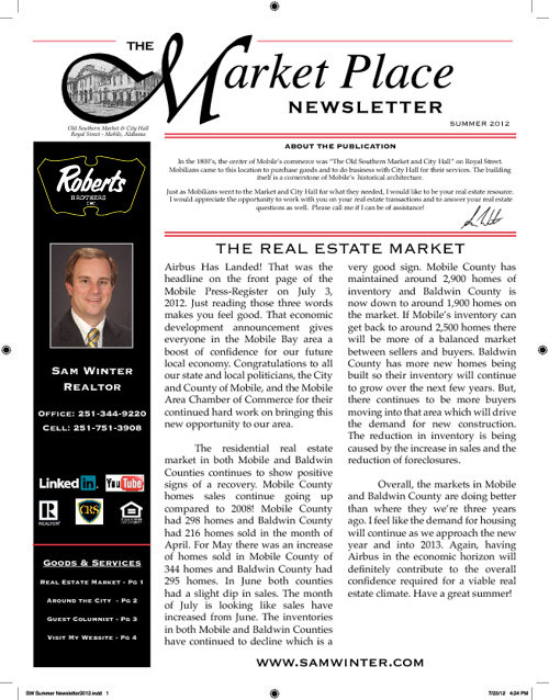The Marketplace Newsletter Summer 2012