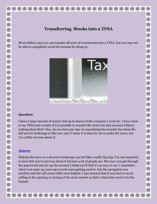 Transferring  Stocks into a TFSA