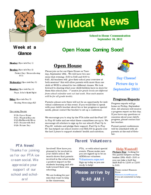 Wildcat Weekly 9-10-12