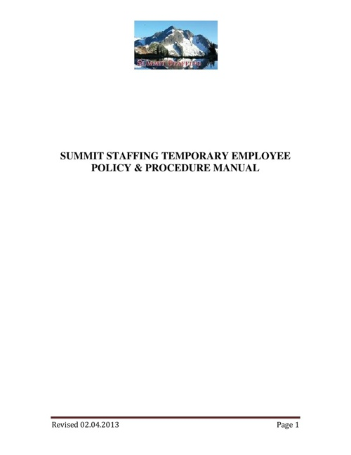 Summit Staffing Temporary Employee Handbook