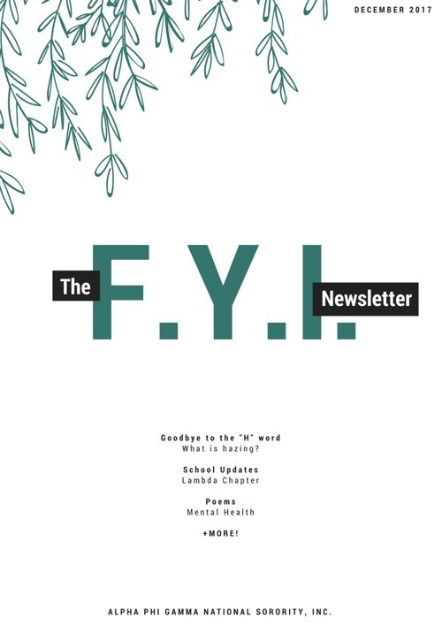 The F.Y.I. Newsletter - December 2017