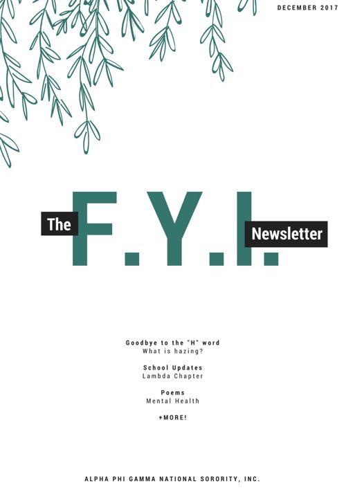The F.Y.I. Newsletter - December 2017