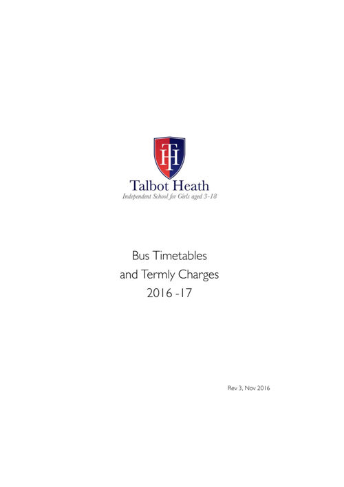 Talbot Heath Bus Timetables & Charges 2016-17