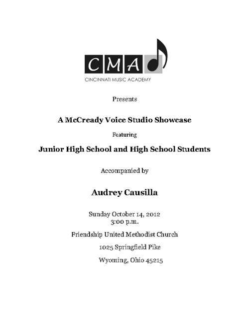 McCready Voice Studio Junior High and High School Showcase 2012