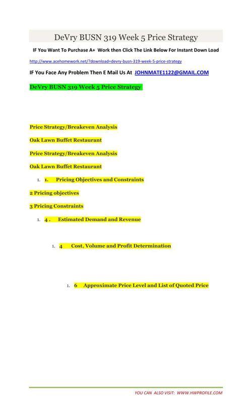 DeVry BUSN 319 Week 5 Price Strategy