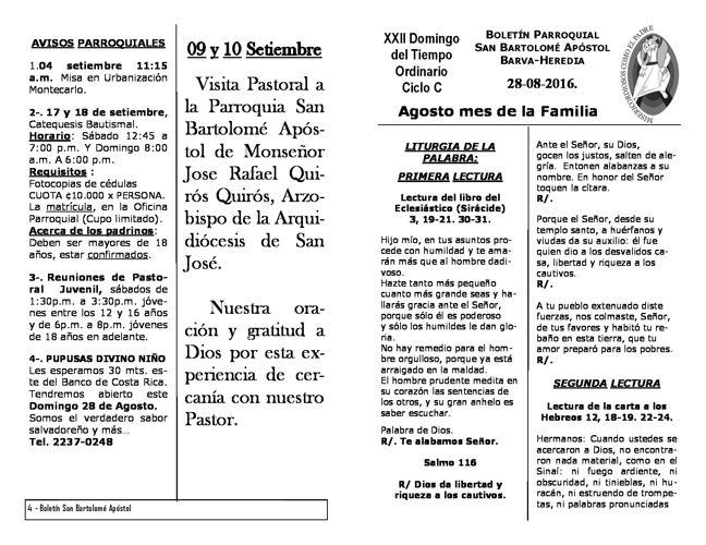 Boletín XXII Domingo del Tiempo Ordinario