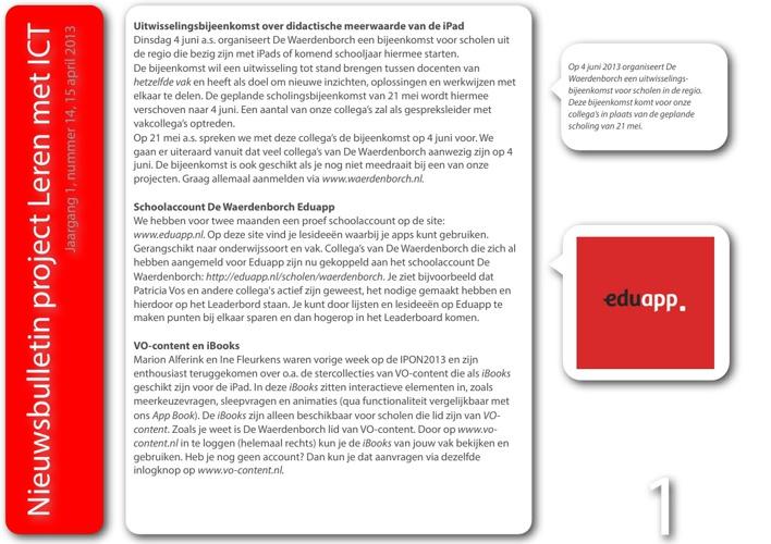 Nieuwsbulletin Leren met ICT, Jaargang 1, nummer 14