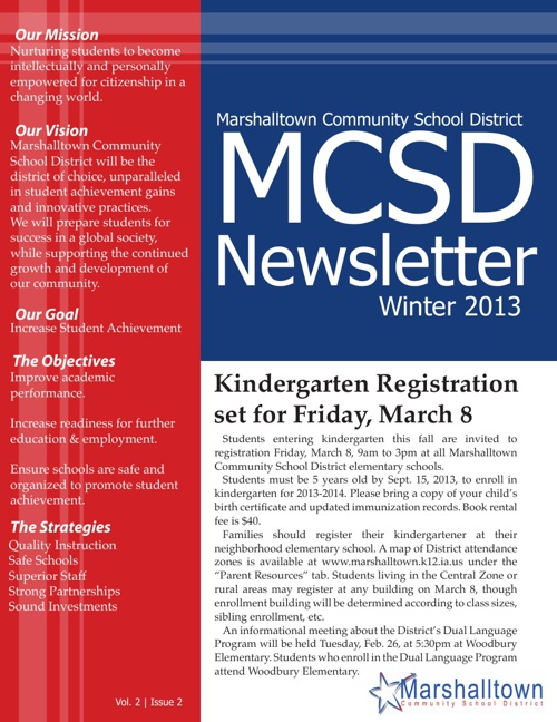 MCSD Newsletter: Winter 2013