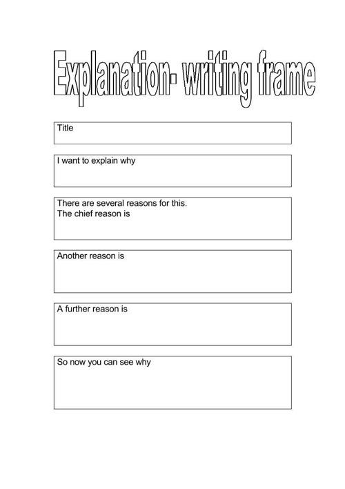 Explanation organizer template