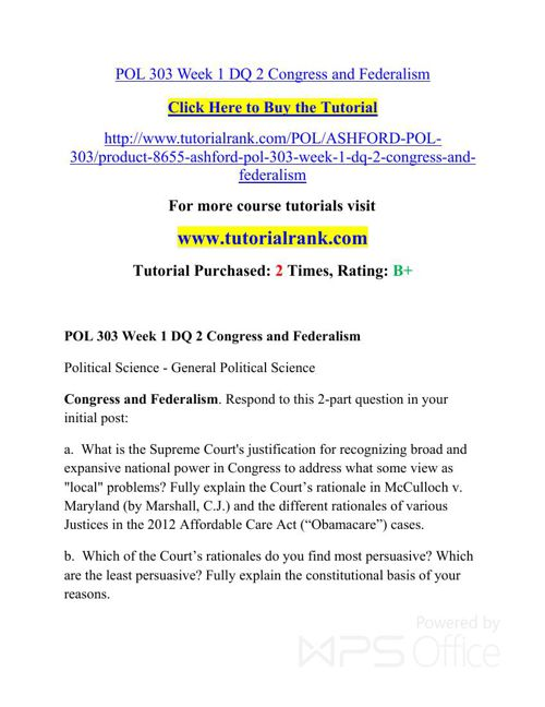 POL 303 UOP Courses /TutorialRank