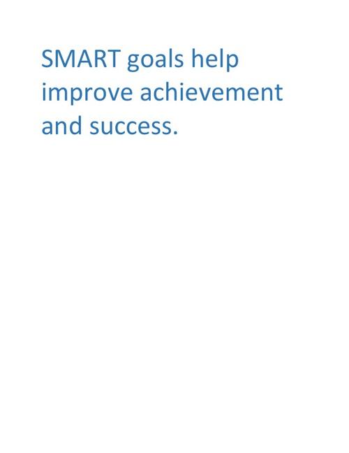SMART goals help improve achievement