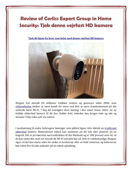 Review of Corliss Expert Group in Home Security: Tjek denne vejr