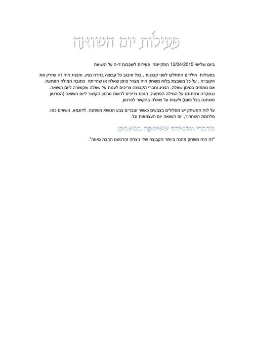 פעילות יום השואה-לאחר עריכה
