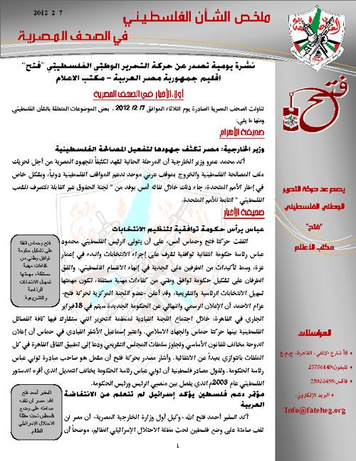 ملخص الشأن الفلسطيني ليوم الثلاثاء 7-2-2012