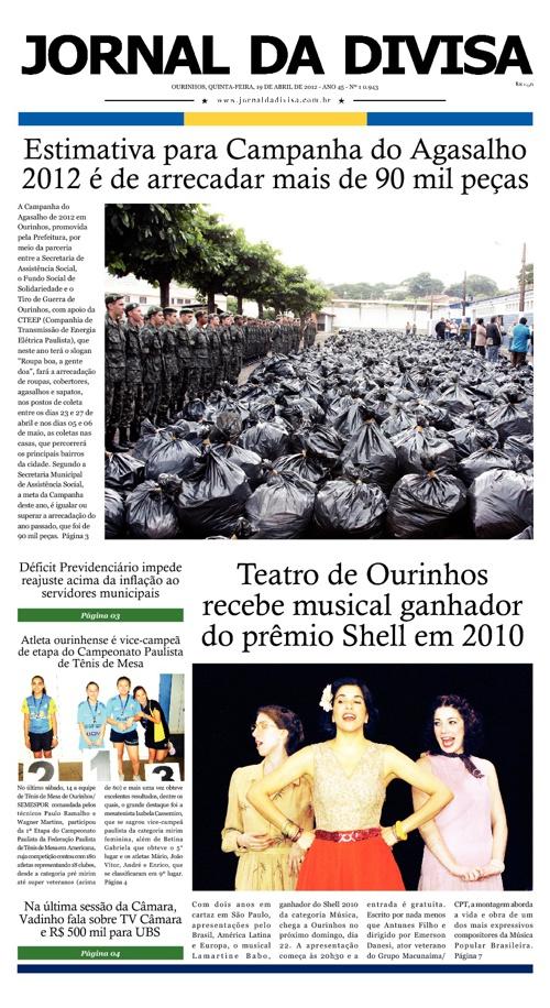 JORNAL DA DIVISA - Edição de 19 de Abril de 2012.