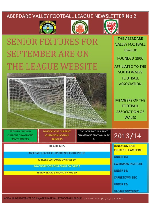 ABERDARE VALLEY FOOTBALL LEAGUE NEWSLETTER ISSUE 2 2013/14