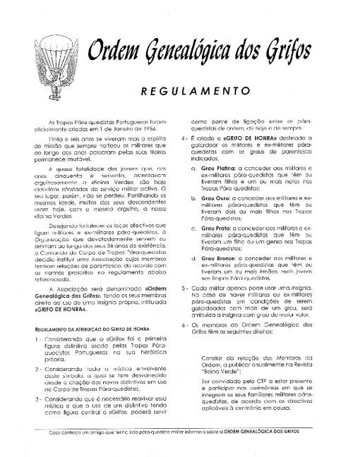 Grifos de Honra (regulamento)
