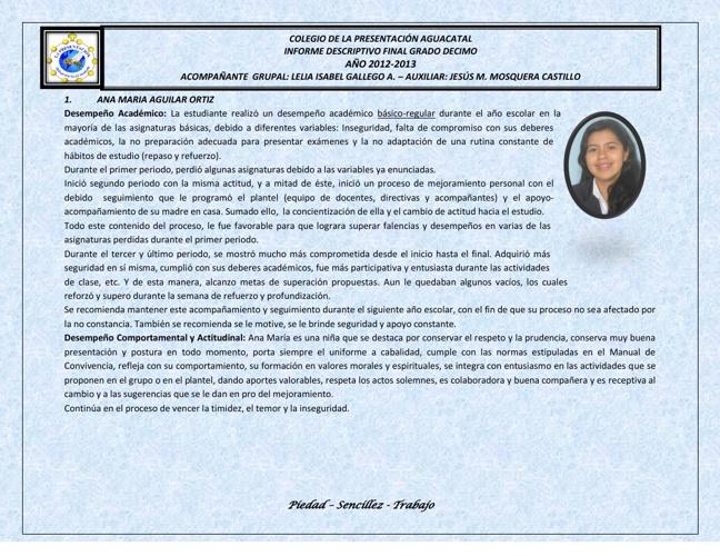 INFORME DESCRIPTIVO GRADO DECIMO 2012-2013