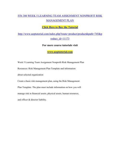 FIN 380 WEEK 5 LEARNING TEAM ASSIGNMENT NONPROFIT RISK MANAGEMEN