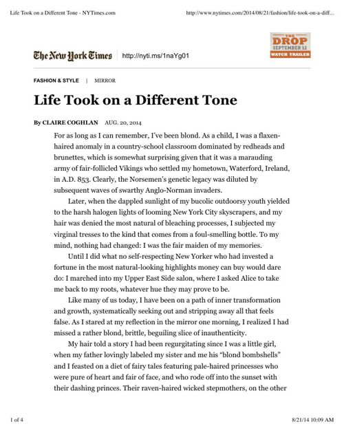 NY Times: Life Took on a Different Tone