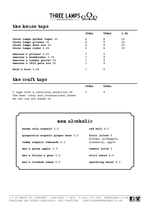Three Lamps Beer Menu - October