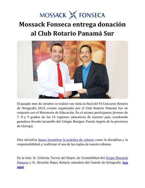 Mossack Fonseca entrega donación al Club Rotario Panamá Sur