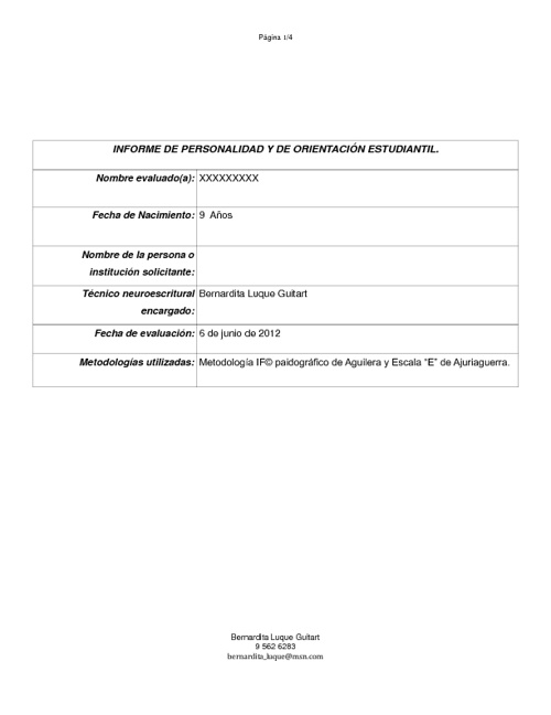 Ejemplo de Informe Paidográfico