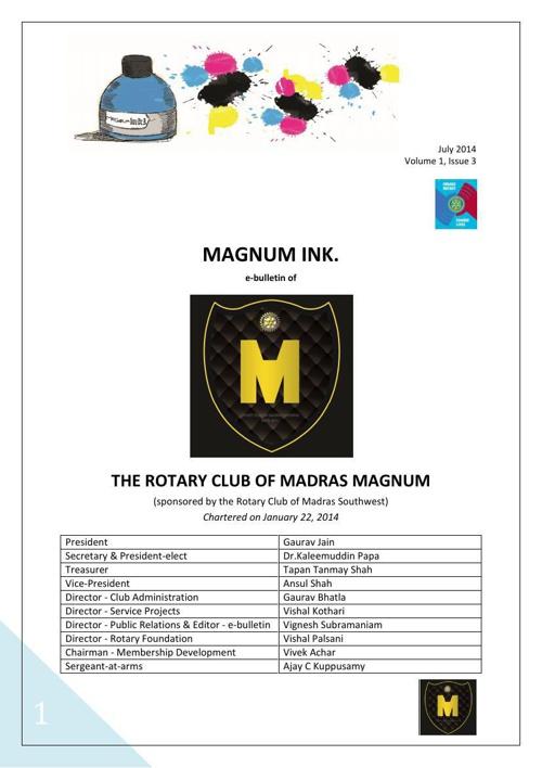 Magnum Ink., Volume 1, Issue 3