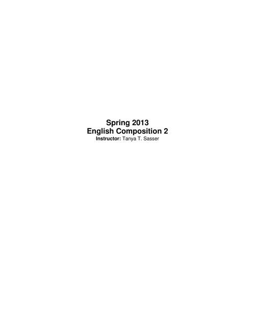 Spring 2013 EH 102 Syllabus