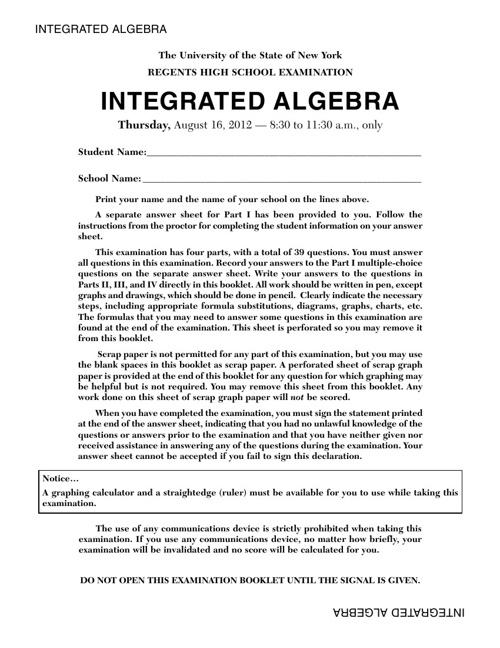 Integrated Algebra Regents Exam